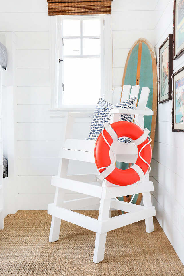 Bedroom Decor Ideas. Kids Bedroom Decor Ideas. Coastal Kids Bedroom Decor Ideas. Coastal kids' bedroom with coastal decor, lifeguard chair and vintage surfboard. #CoastalBedroom #KidsBedroomDecor #CoastalBedroomDecor #KidsCoastalBedroomDecor #CoastalKidsBedroomDecor