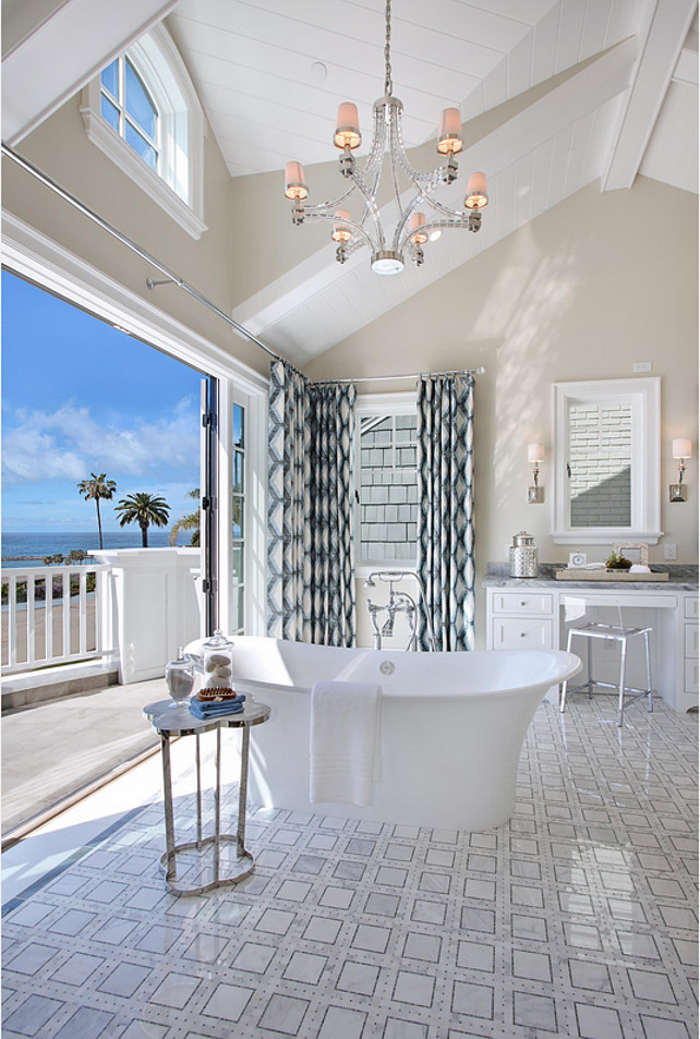Bathroom Ideas. Coastal bathroom with Victoria & Albert Toulouse freestanding Bathtub., Side table is the Clover Table from Home Crush. Visual Comfort CHC1530PN-NP Chart House 6 Light Large Crystal Cube Chandelier. #Bathroom #BathroomIdeas #CoastalInteriors Spinnaker Development.