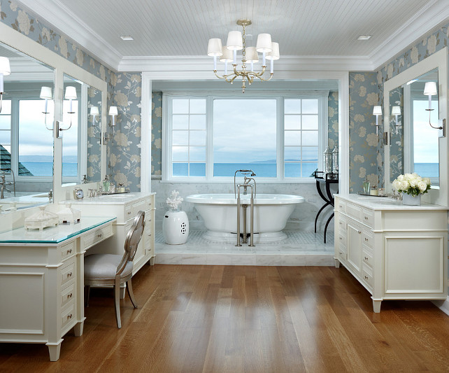 Bathroom Design Ideas. Stunning hers bathroom design with custom cabinets. Lighting is by Circa Lighting. Cabinet Paint Color: Benjamin Moore Timid White OC-39 #BenjaminMoore #TimidWhite OC-39 #BathroomDesign #Bathroom #BathroomIdeas