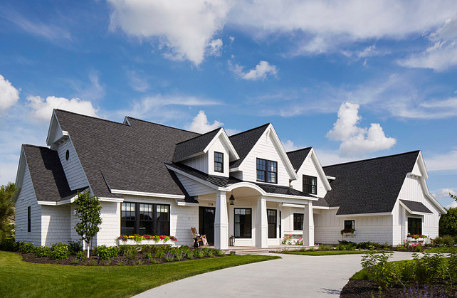 White Exterior Color Scheme: White Exterior Paint Color. White Exterior Siding Paint Color. The roofing shingles are Timberline HD Charcoal Shingles and the siding is Ultra White Cedar siding with Ebony windows, doors and trim. #HomeExterior #paintColor #Siding #WhiteHouse #WhiteExterior Martha O'Hara Interiors.