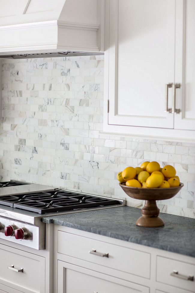 "Calacatta Gold Tile Backsplash. Calacatta Gold Backsplash. The backsplash is 2""x4"" Calacatta Gold Honed. #CalacattaGold #Backsplash #Tile Connecticut Stone."