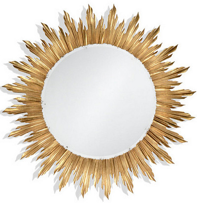 Mirror Ideas. Gilt sunburst mirror in Louis XIV style. #Mirror #SunburstMirror