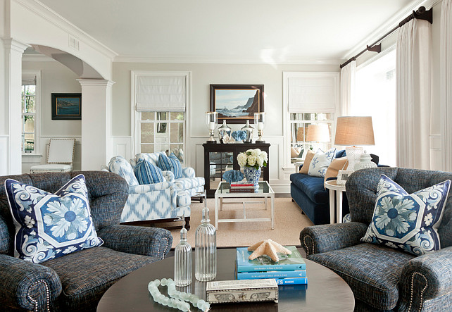 Living Room. Coastal Living Room. Blue and white Living Room. Living Room Ideas. Living Room Chairs. Living Room Sofa. Living Room Furniture Arrangement. Many of the fabrics in this living room are by Barclay Butera fabrics for Kravet.#LivingRoom
