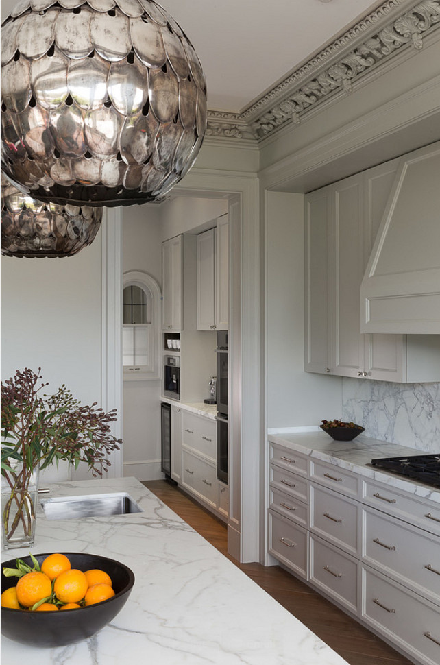 Kitchen Painted in  Benjamin Moore Revere Pewter.  Benjamin Moore Revere Pewter Kitchen Cabinet. Kitchen Revere Pewter. Kitchen with Soane Owl Lantern Pendant. #BenjaminMooreReverePewter  #KitchenBenjaminMooreReverePewter