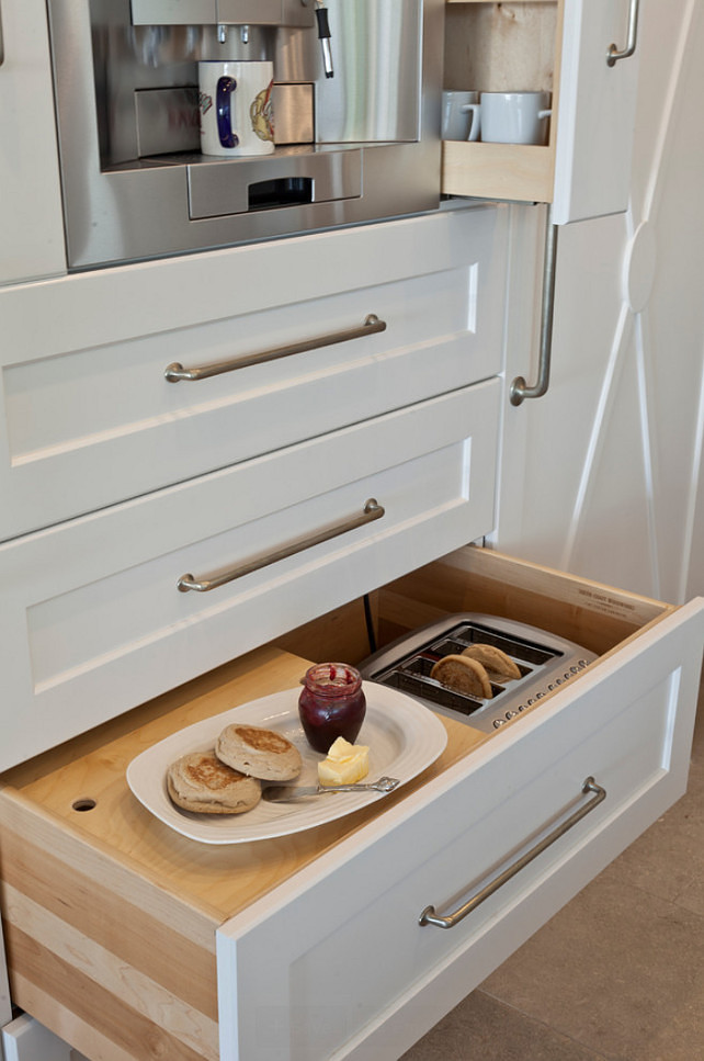 Kitchen Storage. The drawer in this kitchen stores toaster and bread. I would prefer it to the higher, but this is a neat idea. Kitchen Storage Ideas. Kitchen Storage Design Ideas. Kitchen Space Saver Ideas: To save space, a toaster is tucked into a drawer beside the breadbox. #KitchenStorage Anne Michaelsen Design.