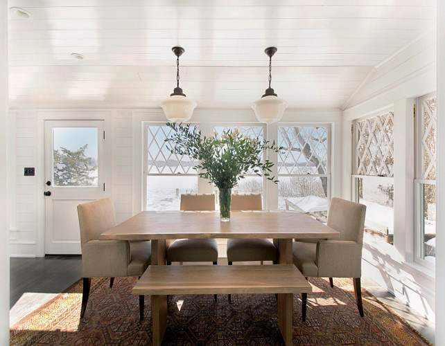 Dining Room. Dining Room Plank Walls. Dining Room Plank Ceiling. This dining room also features schoolhouse pendant lighting. #DiningRoom #PlankDiningRoom #PlankWalls #PlankCeiling #schoolhouselighting #schoolhousependant