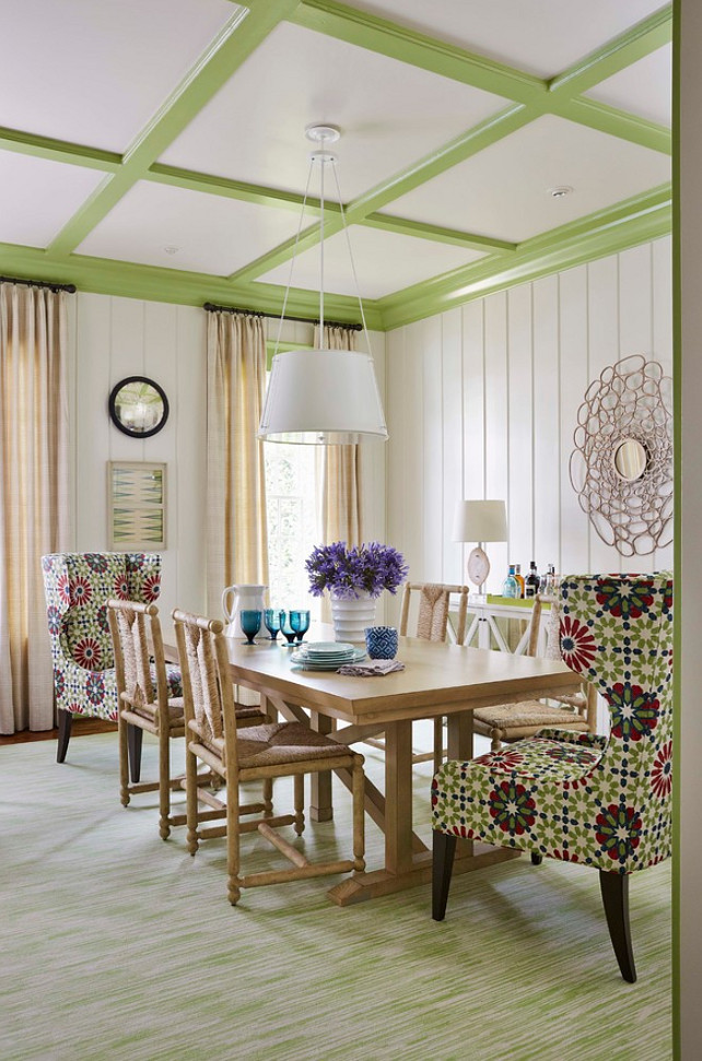 Dining Room. Colorful Dining Room. Dining Room Chair Fabric is Martyn Lawrence Bullard. Trim is painted in Woodland Hills Green by Benjamin Moore. #DiningRoom #DiningRoomChair #ChairFabric #MartynLawrenceBullardFabric