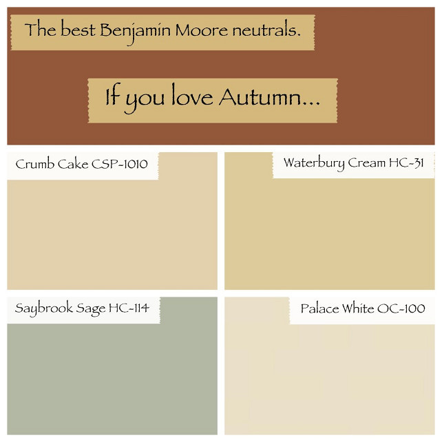 Warm Paint Color. Neutral Warm Benjamin Moore Paint Color. Crumb Cake Benjamin Moore. Waterbury Cream Benjamin Moore. Saybrook Sage Benjamin Moore. Palace White Benjamin Moore. #BenjaminMoorePaintColors Via Wrez-Zen..jpg