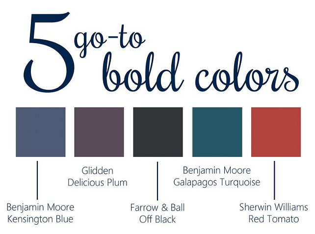 Bold Front Door Paint Color Ideas. Kensignton Blue Benjamin Moore, Delicious Plum Glidden, Off Black Farrow and Ball, Galapagos Turquoise Benjamin Moore, Red Tomato Sherwin Williams. #FrontDoor #PaintColor #BoldPaintColor