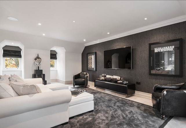 Media Room. This is a very comfortable and masculine Media Room. #MediaRoom