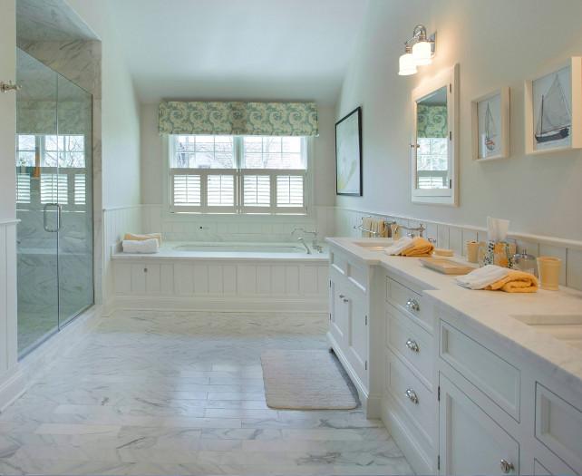 Bathroom Ideas. Beautiful Bathroom Design Ideas. Classic bathroom design with timeless marble tiling and countertop. Bathroom with marble tiling. #Bathroom #marble #BathroomTiling