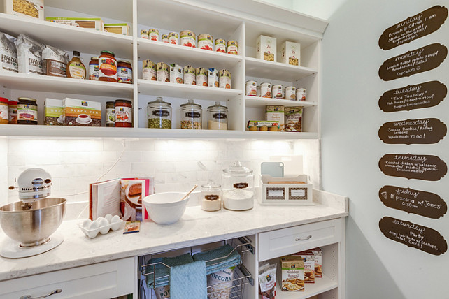 Pantry. Kitchen Pantry. Kitchen Pantry Ideas. Kitchen Pantry with chalk paint wall. This pantry features electrical outlets and a carrera countertop so you can prepare meals right at your pantry. #Pantry #KItchen #KitchenPantry