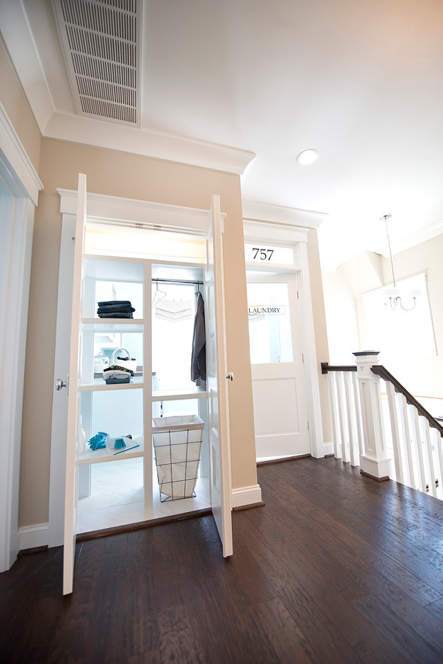 Laundry room. New Laundry Room Ideas. Genius laundry room design! This laundry room has a pass-through shelving accessible both from inside the laundry room and from just outside provides get it yourself convenience. #LaundryRoom