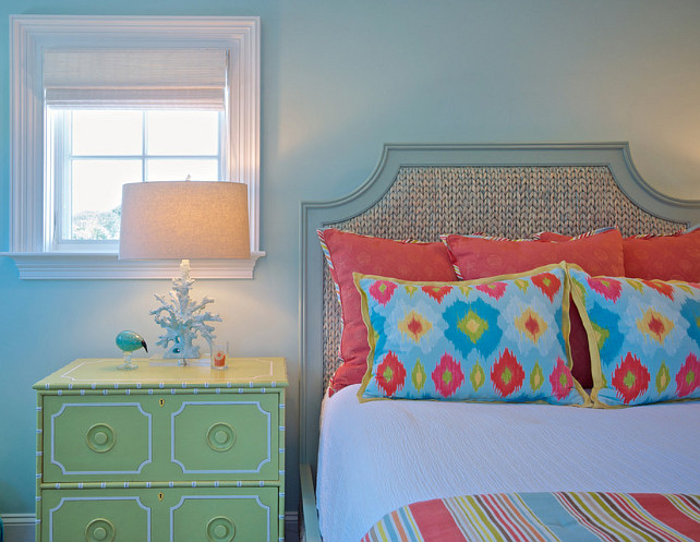 Bedroom. Colorful Coastal Bedroom Ideas. Blue bedroom with coastal decor and colorful accessories and bedding. #Bedroom #CoastalBedroom #CoastalDecor #BlueBedroom #ColorfulInteriors #ColorfulBedroom Cronk Duch Architecture.