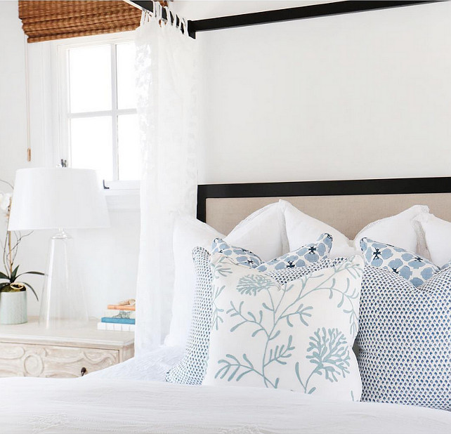 Bedding Ideas. Coastal bedroom bedding and pillows. Coastal bedroom bedding and pillow ideas. Coastal bedroom bedding and blue and white decorative pillows. #Bedroom #CoastalBedroom #Bedding #Pillows Blackband Design.