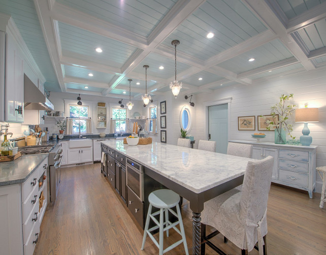 Blue Ceiling. Kitchen with blue ceiling. White kitchen with coffered and tongue and groove ceiling painted in light blue. #BlueCeiling #PaintedBlueCeiling #Kitchen #KithenBlueCeiling #LightBlueCeiling Sotheby's Homes.
