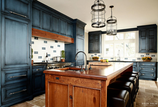 Kitchen Rustic With Navy Blue Cabinets