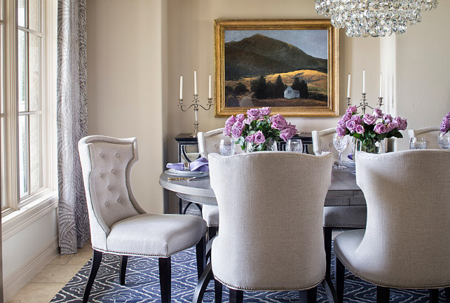 Dining Room. Dining Room Decor. Dining Room Chairs. Dining Chairs are Lillian August Dining Chairs. Dining Room Paint Color. The dining room wall and trim paint color is Benjamin Moore Sea Urchin. Dining Room Color Scheme. #DiningRoom Martha O'Hara Interiors.