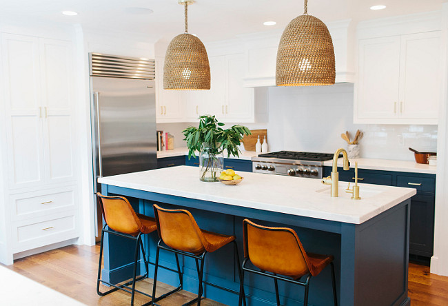 Kitchen White Top Cabinets Navy Bottom Cabinets. Kitchen White Upper Cabinets Navy Lower Cabinets. navy cabinets navy kitchen cabinets navy shaker kitchen cabinets navy cabinets white marble top navy cabinets with calacatta marble navy kitchen island navy blue kitchen cabinets calacatta marble countertops white upper cabinets navy lower cabinets white top cabinets navy bottom cabinets white paneled kitchen hood navy base cabinets navy cabinets brass pulls navy blue kitchen cabinets brass hardware #Kitchen Shea McGee Design.