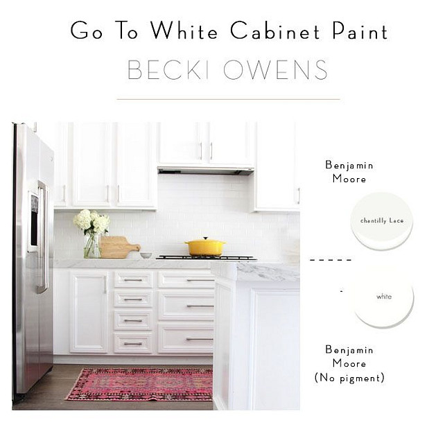 Go To White Cabinet Paint. Interior Designer Recommended White Paint for Cabinets Chantilly Lace by Benjamin Moore. White Paint Color with no Pigment. #BenjaminMooreChantillyLace Best White Cabinet Paint Color with no pigment. #PaintColor #cabinet #WhitePaint Becki Owens.