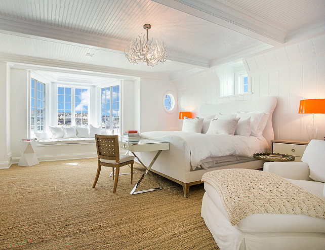 White Interior Design. This is a great example of white decor done right. This white bedroom is very serene and full of personality. White decor with character! #WhiteInteriors #WhiteDecor