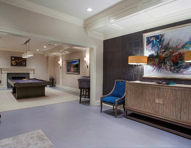 Basement Ideas. Open lounge area with billiards iin the basement. Great basement ideas! #Basement #BasementDesign #BasementDecor