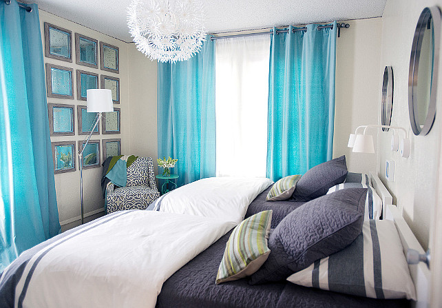 Shared Bedroom. Shared Bedroom Furniture Ideas. Turquoise And Navy Kidsu0027  Bedroom Features Metal