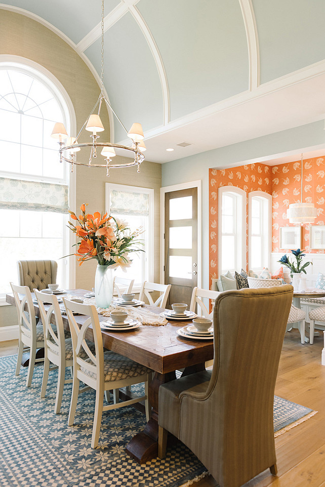 Dining Room. Dining Room Lighting. Dining Room with Classic Ring Chandelier. Classic Ring Chandelier in Polished Nickel with Natural Paper Shades. #DiningRoom #Lighting #ClassicRingChandelierFour Chairs Furniture.