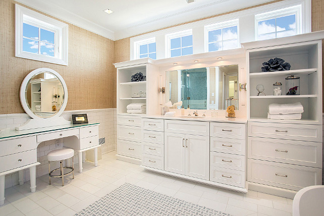 Bathroom Cabinet Design. This bathroom has great cabinets. They offer plenty of storage. Wallpaper is grasscloth. #BathroomCabinet #BathroomDesign #Cabinetry