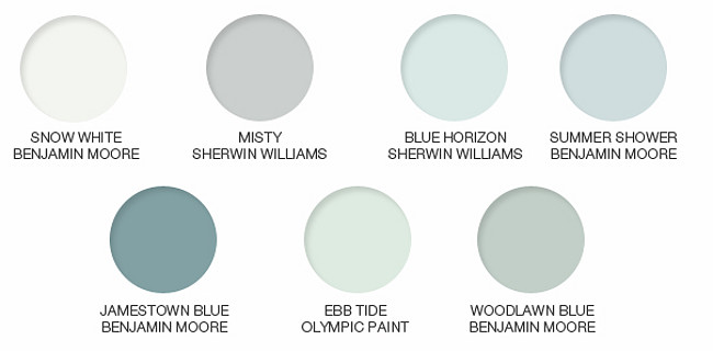 Beach House Paint Color. Snow White Benjamin Moore. Misty Sherwin Williams. Blue Horizon Sherwin Williams. Summer Shower Benjamin Moore. Jamestown Blue Benjamin Moore. Ebb Tide Olympic Paint. Woodlawn Blue Benjamin Moore. Beach House Paint Colors. Beach House Paint Color Ideas. #BeachHouse #Coastal #PaintColors #BenjaminMoorePaintColors #SherwinWilliamsPaintColors Via 1800Lighting.