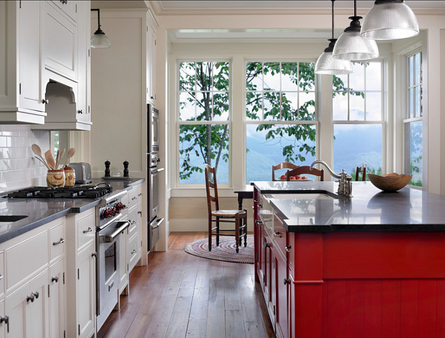 "Kitchen Design. Kitchen Design Ideas. I am loving the design of this kitchen. It's unique and orginal! #Kitchen #KitchenDesign #Kitchens #Interiors Island Paint Color: ""Benjamin Moore Heritage Red""."