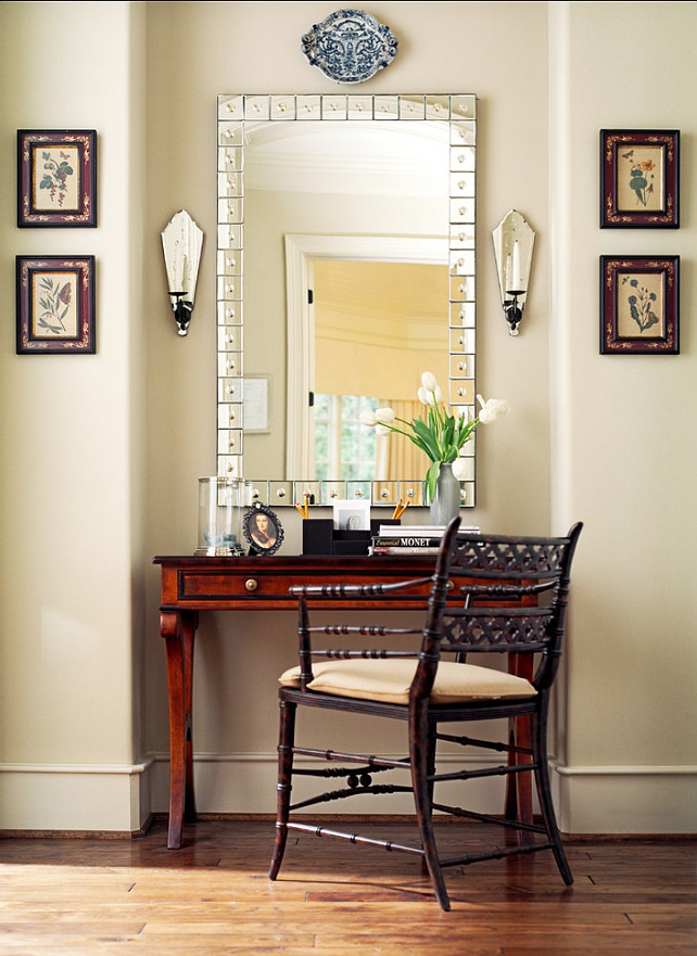 Entryway Decor Ideas. This desk is perfect for an entryway. I would prefer using a stool instead of a chair. #Entryway #EntrywayDecoratingIdeas