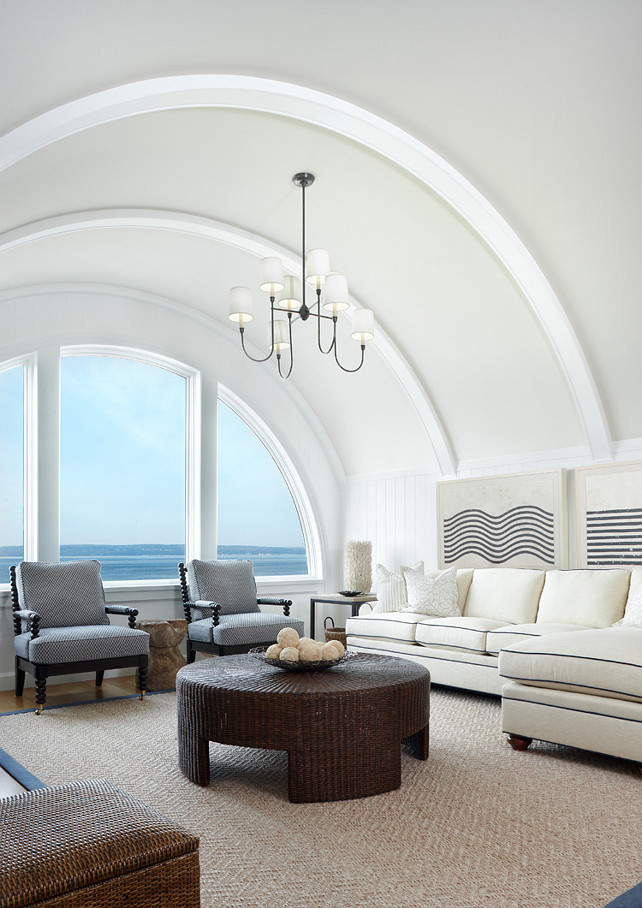 "Coastal Family Room Design. Inspiring Coastal decor for living room or family room. Great deaign ideas! Light fixture is the ""Large Vendome Chandelier"" by Thomas O'Brian"". Paint Color: Trim: Benjamin Moore Simply White (OC-117 or 2143-70) Ceiling: Benjamin Moore White Dove OC-17 #CoastalDecor #CoastalHomes #CoastalLivingRoom #CoastalFamilyRoom #CoastalInteriors"