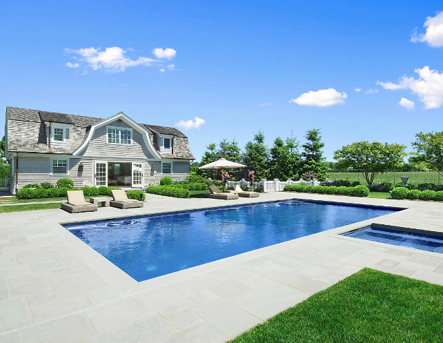 Pool and Pool House Design. This is one of the most beautiful pool and pool house I have seen. This pool house is located in the Hamptons. Gorgeous! #Pool #PoolHouse #PoolDesign