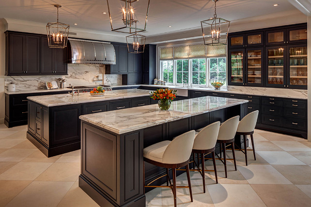 Double Island. Double Island Kitchen. Kitchen with two islands layout. Double Island Kitchen Ideas. Kitchen with double island floor plan. Kitchen with double island with Darlana Pendant Lighting. #Kitchen #doubleisland #DarlanaPendant #Lighting Laura U, Inc.