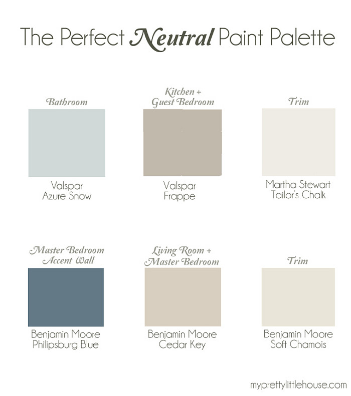 Whole Home Neutral Paint Palette. Bathroom Paint Color Valspar Azure Snow. Kitchen and Guest Bedroom Valspar Frappe. Trim Paint Color Martha Stewart Tailor's Chalk. Master Bedroom Accent Wall Benjamin Moore Philipsburg Blue. Living Room and Master Bedroom Benjamin Moore Cedar Key. Trim Benjamin Moore Soft Chamois. #WholeHome #Neutral #PaintPalette #PaintColorPalette Via My Pretty Little House.