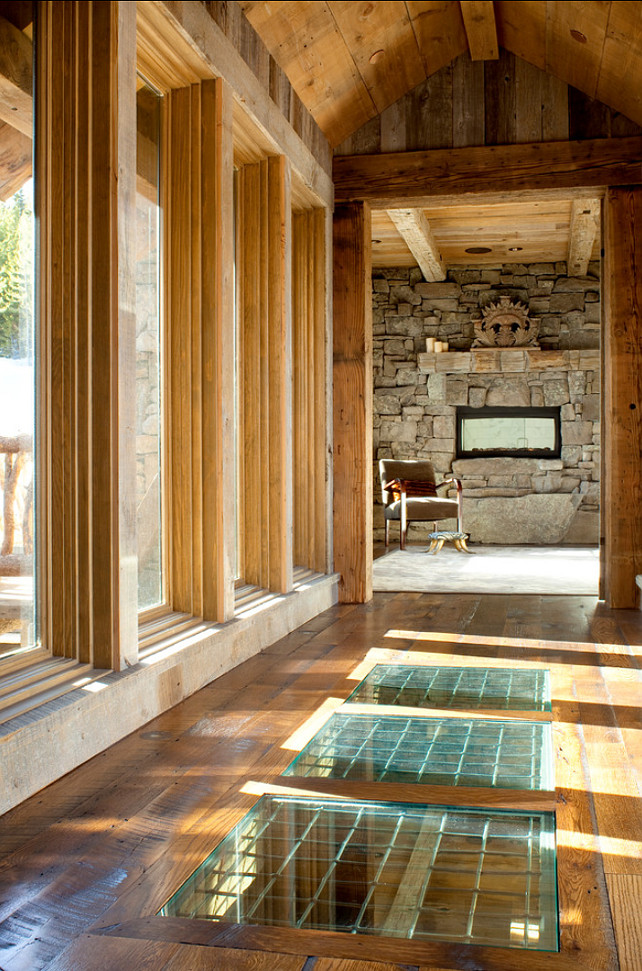 Rustic ski lodge home bunch interior design ideas for Glass floors in houses