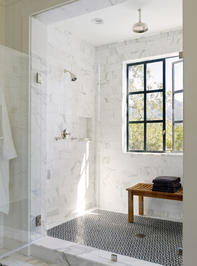 Marble Shower Design. Beautiful Shower Design with marble tiles. #ShowerDesign #MarbleShower