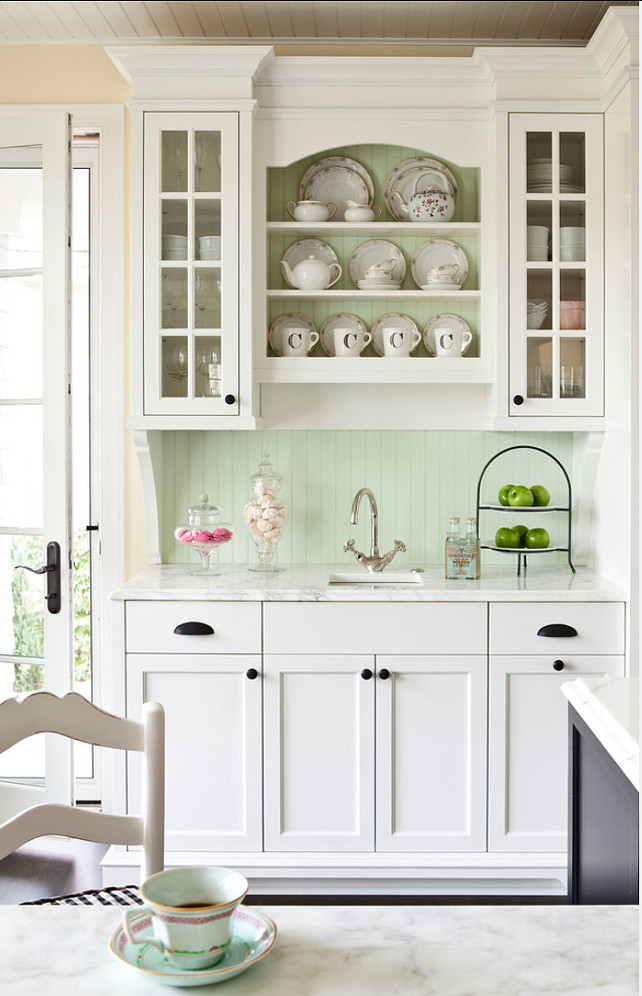 Kitchen Cabinet Ideas. Everyone is looking for ideas for furniture-like kitchen cabinets these days. I love this one in a off-white color. #KitchenCabinet