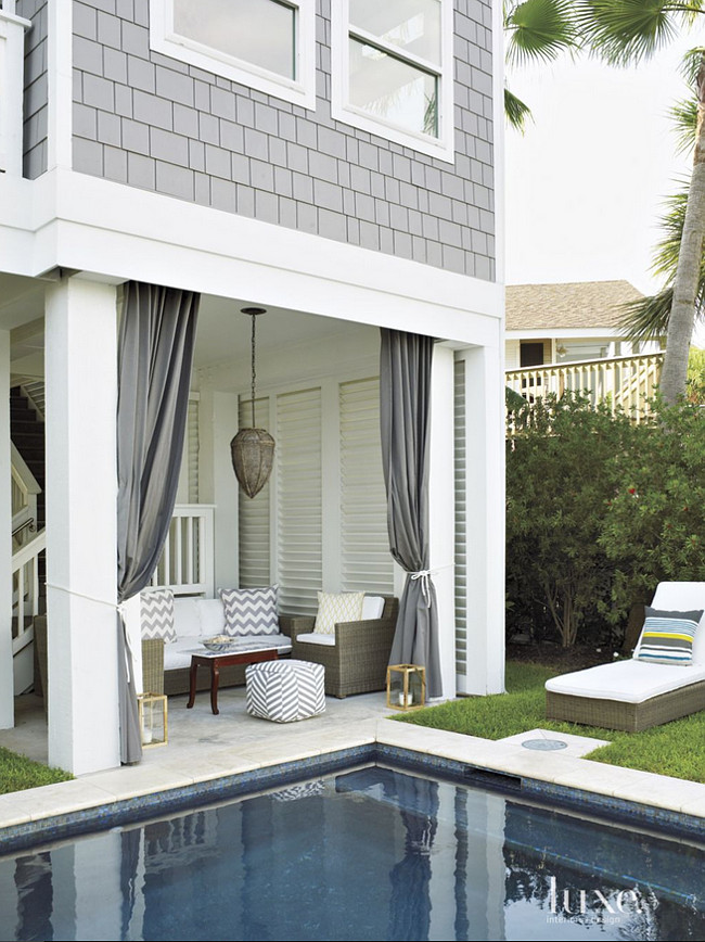 Backyard Ideas. Relaxing Backyard Ideas. A relaxing cabana allows the owners to take in the beautiful vistas. The lounger, chairs and sofa, all from Restoration Hardware, are covered in a Perennials fabric. The vintage table adds interest, as do pillows featuring a chevron pattern. The pool is by Rainey Pool Company. #Backyard Laura C. Singleton. Tria Giovan Photography.