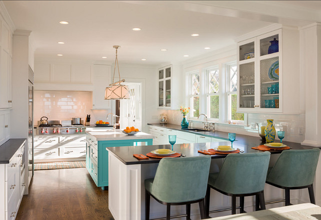 Kitchen. Great kitchen design. Take a look at the cabinets and the island. #Kitchen #KitchenDesign Island Paint Color: Benjamin Moore burbank blue 732
