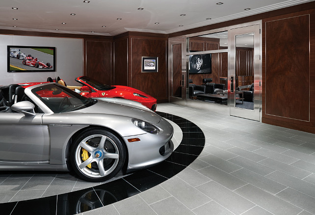 Garage Design Ideas. This is really not your average garage! This is a car collector's dream garage with 2-car turntable and 5 additional garage spaces. #GarageDesign #Garage