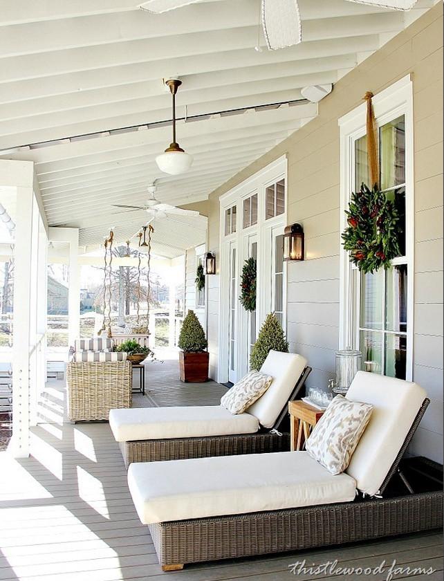 1Christmas Porch Decor. Porch Christmas Decor Ideas.  Natural Outdoor Christmas Decor. Via Tristle Wood Farms.