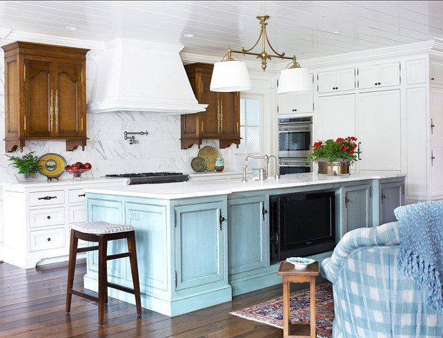 Kitchen with Turquoise Island. The turquoise island is Sherwin Williams SW6226 Languid Blue and the white cabinets are Sherwin Williams SW 6385 Dover White. #Kitchen #Turquoise ##TurquoiseKitchen #PaintColor
