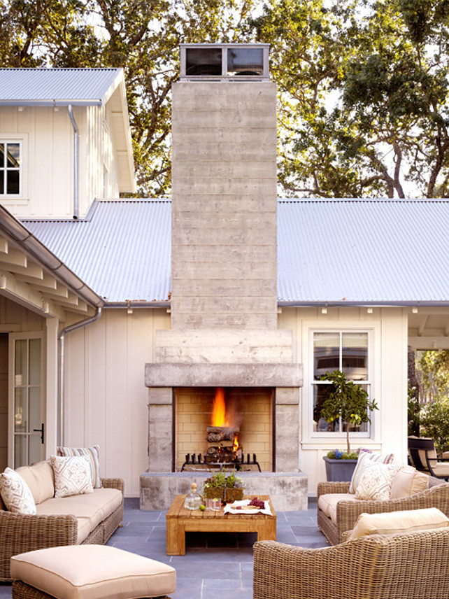 Patio with outdoor fireplace. Great patio with outdoor fireplace. I love the bluestone floors. #Patio #OutdoorFireplace