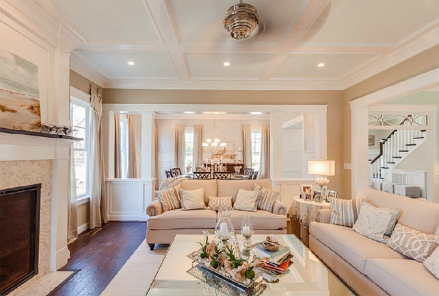 Living Room and Coffered Ceiling paint color ideas.  The living room paint color is Sherwin Williams SW7506 Loggia. Living Room Coffered Ceiling Paint Color is Sherwin Williams SW6476 Glimmer. #SW6476 #SherwinWilliamsGlimmer #SherwinWilliamsLoggia #SW7506