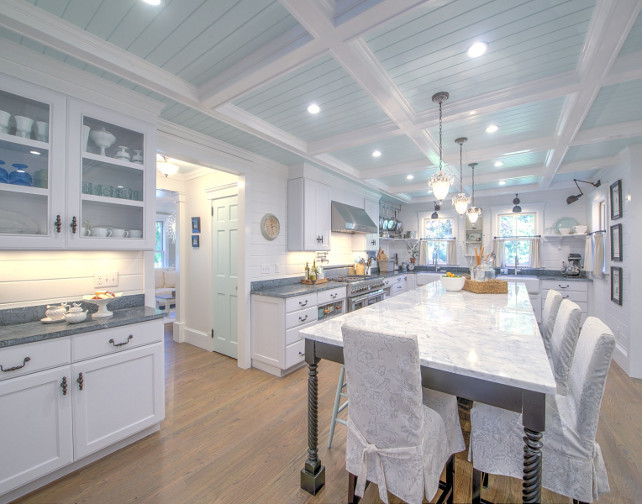 Painted Coffered Ceiling. Kitchen Painted Coffered Ceiling. White kitchen with painted coffered ceiling. Kitchen with Turquoise blue Painted Coffered Ceiling. #PaintedCofferedCeiling #BlueCofferedCeiling #KitchenPaintedCofferedceiling #Kitchen #CofferedCeiling