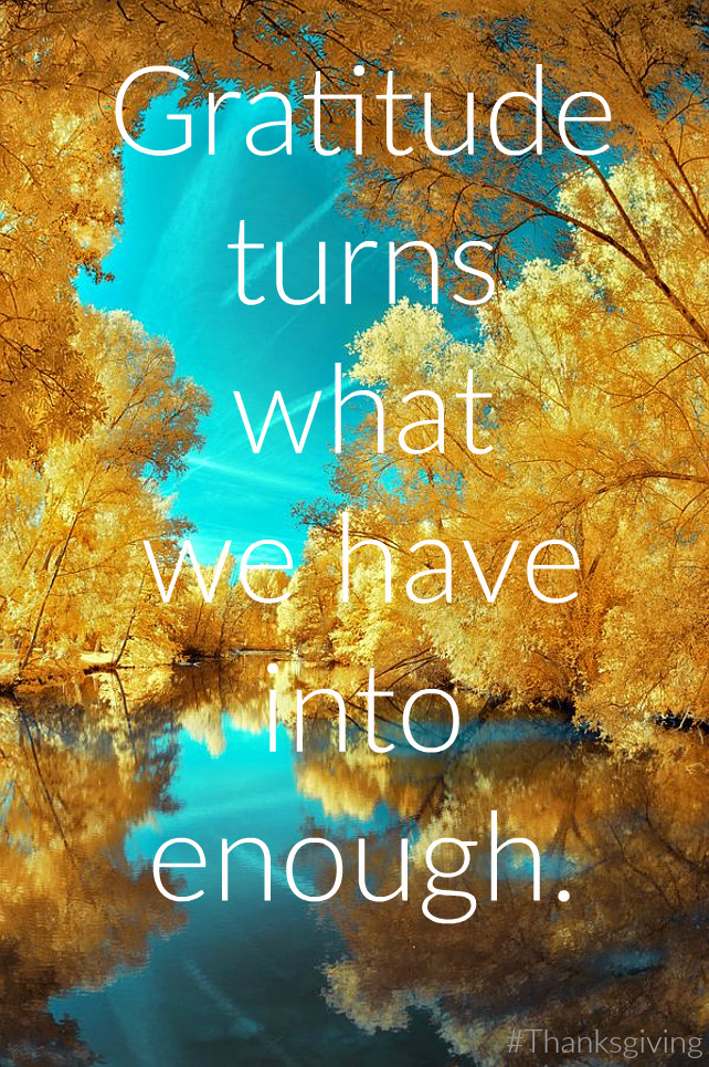 Gratitude turns what we have into enough. #Thanksgiving #quote