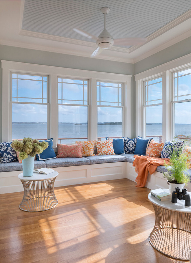 Window seat. Beach house window seat. Beach house window seat ideas. Beach house window seat design. Beach house window seat fabric. Beach house window seat ocean view. #Beachhouse #windowseat Davitt Design Build, Inc. Nat Rea Photography.