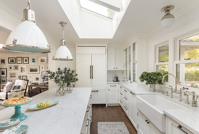 "Carrara Marble Countertop. Kitchen countertop is Carrara marble countertop in 1 1/2"" thick. Honed Carrara marble countertop. #Carrara #Marble #Countertop The countertop is a classic choice: 1 1/2"" thick honed Carrara Marble. Backsplash is Adex USA 3"" x 6"" Beveled White Tile. Heydt Designs."